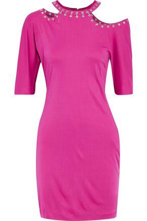 ROBERTO CAVALLI Eyelet-embellished cutout stretch-jersey mini dress