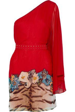 ROBERTO CAVALLI One-shoulder studded printed silk-chiffon mini dress