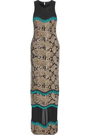 ROBERTO CAVALLI Open knit-paneled jacquard-knit maxi dress