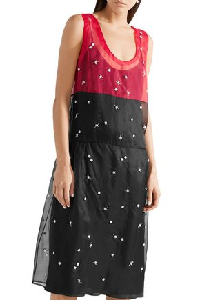 MIU MIU Embellished two-tone layered silk-organza dress