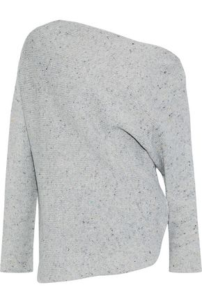 NARCISO RODRIGUEZ Off-the-shoulder marled wool and cashmere-blend sweater