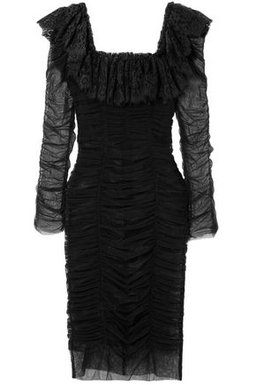 DOLCE & GABBANA Lace-trimmed ruched cotton-blend tulle dress