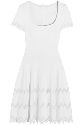 ALAÏA Crochet-trimmed stretch-knit mini dress