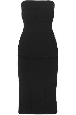 TOM FORD Strapless embossed stretch-crepe dress