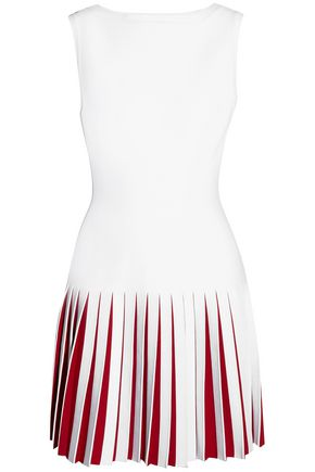 ALAÏA Pleated two-tone knitted mini dress
