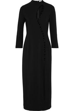 A.L.C. Button-embellished cutout cady midi dress