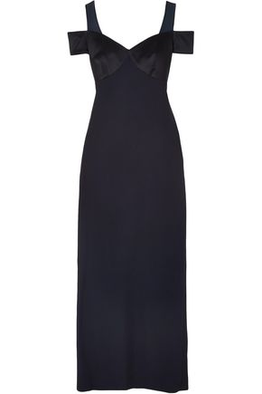 VERSACE TRIBUTE Cold-shoulder satin-crepe gown