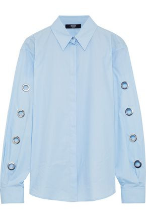 VERSUS VERSACE Eyelet-embellished cotton-poplin shirt