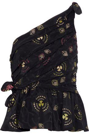 A.L.C. Soraya one-shoulder knotted satin-jacquard top