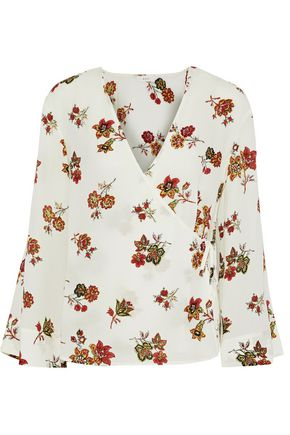 A.L.C. Ray floral-print silk-crepe wrap blouse