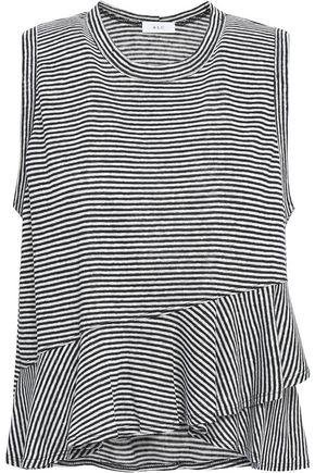 A.L.C. Braxton ruffled striped linen-jersey top