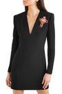 VERSACE Embellished silk-crepe mini dress
