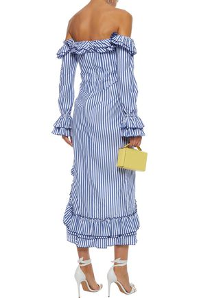 PETERSYN Kerri off-the-shoulder ruffled striped cotton-poplin midi dress