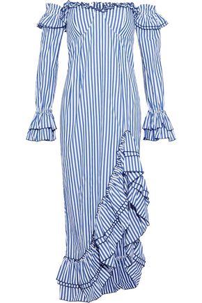 d8be0d231a62 PETERSYN Kerri off-the-shoulder ruffled striped cotton-poplin midi dress