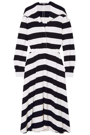 CALVIN KLEIN 205W39NYC Striped stretch-crepe midi dress