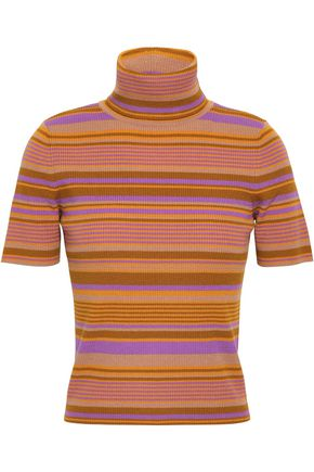 A.L.C. Striped ribbed merino wool-blend turtleneck top