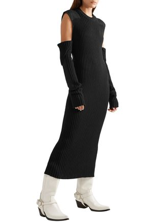 CALVIN KLEIN 205W39NYC Cold-shoulder open-back ribbed cotton-blend midi dress