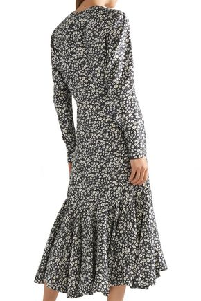 CALVIN KLEIN 205W39NYC Ruched floral-print silk-shell midi dress