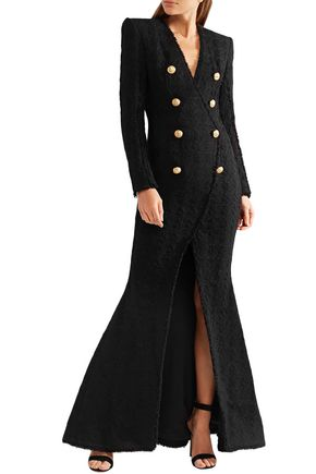 BALMAIN Button-embellished tweed gown