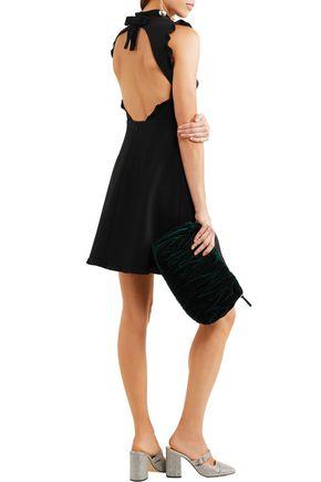 b65f8ba98dc MIU MIU Bow-embellished ruffle-trimmed mini dress