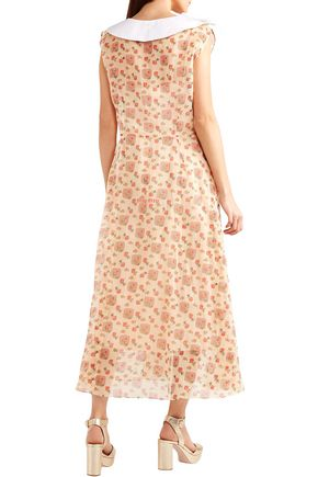 MIU MIU Printed cotton-organza midi shirt dress