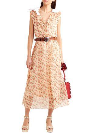494b254391 MIU MIU Printed cotton-organza midi shirt dress