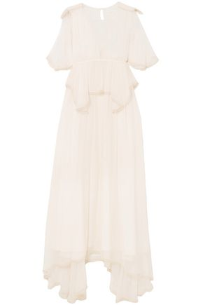 CHLOÉ Cape-effect layered silk-crepon maxi dress