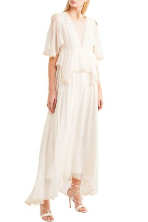 CHLOÉ Cape-effect silk-gauze peplum maxi dress