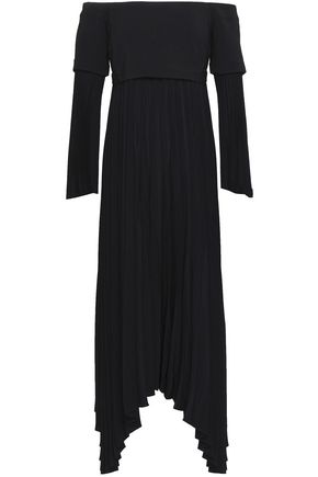 A.L.C. Serena off-the-shoulder cady and pleated crepe midi dress