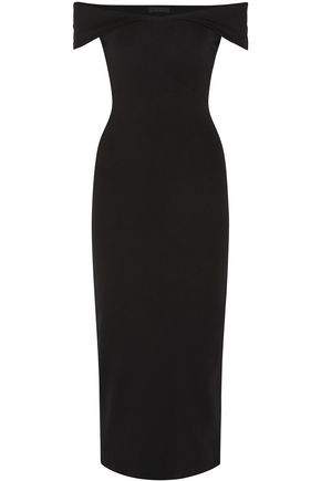 THE ROW Off-the-shoulder scuba midi dress