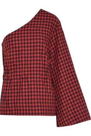 PETERSYN Bradford one-shoulder checked cotton-flannel top