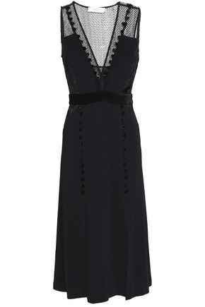 A.L.C. Harlow embroidered chiffon and point d'esprit-paneled stretch-crepe midi dress