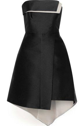 HALSTON HERITAGE Strapless duchesse-satin mini dress