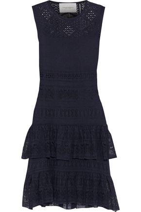 CAROLINA HERRERA Tiered pointelle-knit mini dress