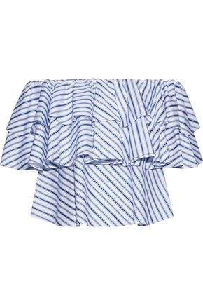 PETERSYN Janey off-the-shoulder ruffled striped cotton top