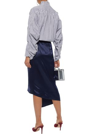 PETERSYN Elizabeth gathered striped cotton-poplin blouse