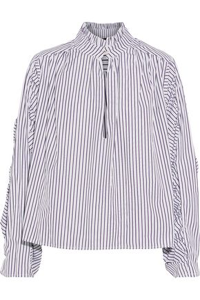 PETERSYN Elizabeth gathered striped cotton-poplin blouse