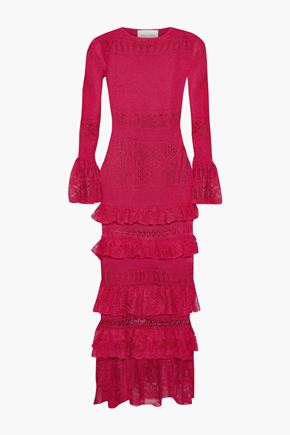 CAROLINA HERRERA Tiered crochet-knit maxi dress