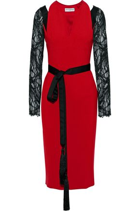 AMANDA WAKELEY Lace-paneled cutout crepe midi dress
