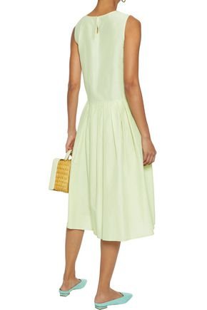 MANSUR GAVRIEL Pleated silk and cotton-blend midi dress