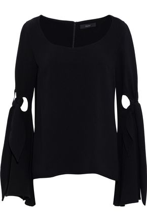 ELLERY Maya knotted cutout crepe top