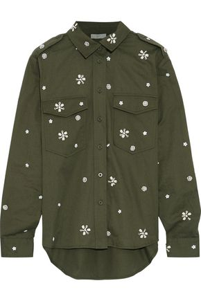 JOIE Hayfa embellished cotton-twill shirt