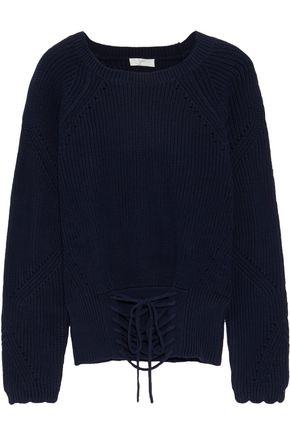 JOIE Balere lace-up cotton sweater