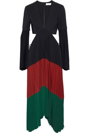 A.L.C. Rio cutout color-block stretch-crepe midi dress