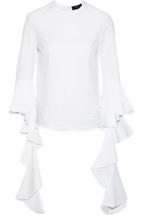 ELLERY Emmeline ruffle-trimmed cotton-poplin top