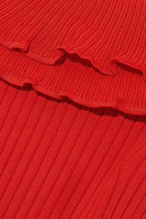 JONATHAN SIMKHAI Off-the-shoulder ruffled ribbed-knit midi dress