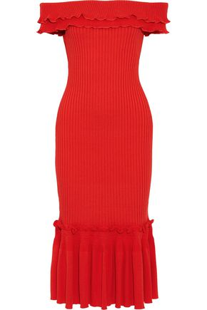 JONATHAN SIMKHAI Off-the-shoulder ruffled ribbed-knit midi dress