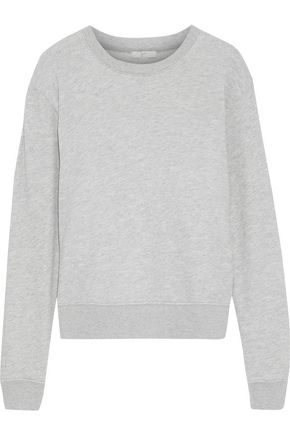 JOIE Tiered broderie anglaise-paneled French cotton-terry sweatshirt