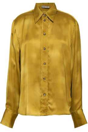 BOTTEGA VENETA Crystal-embellished washed silk-charmeuse shirt