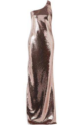TOM FORD One-shoulder sequined stretch-mesh gown
